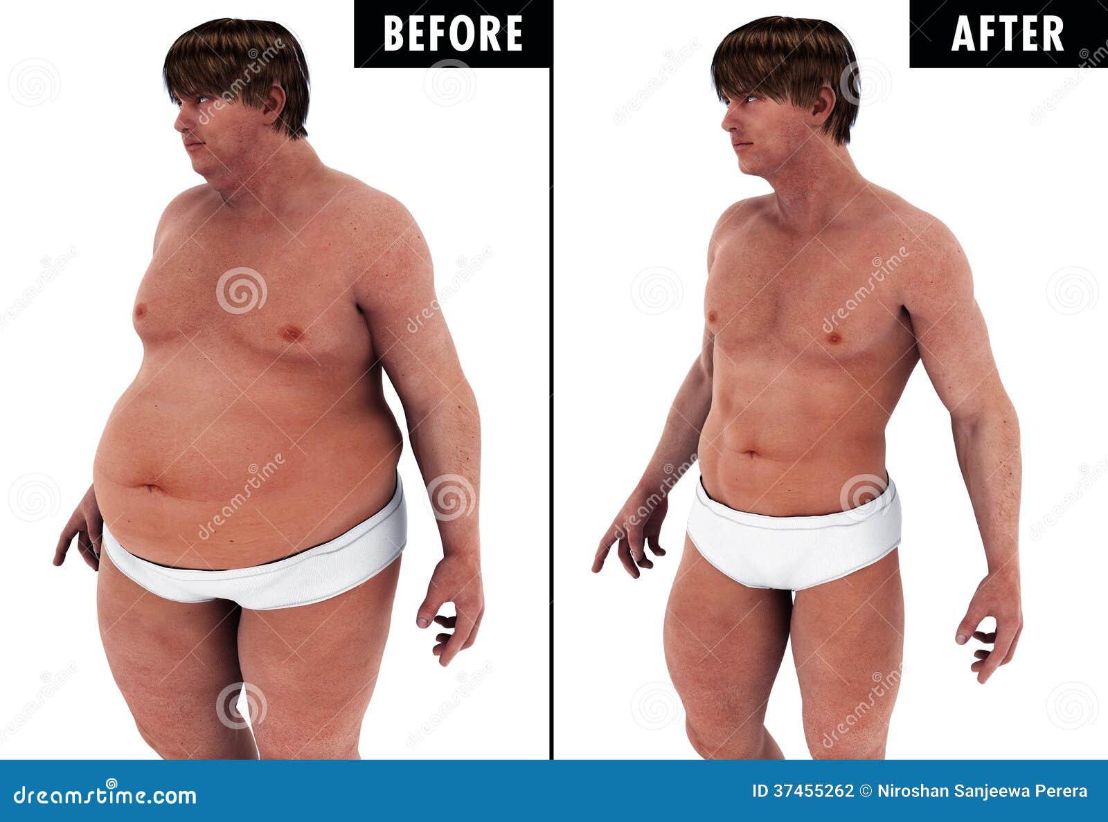 avant et après la perte de poids masculin