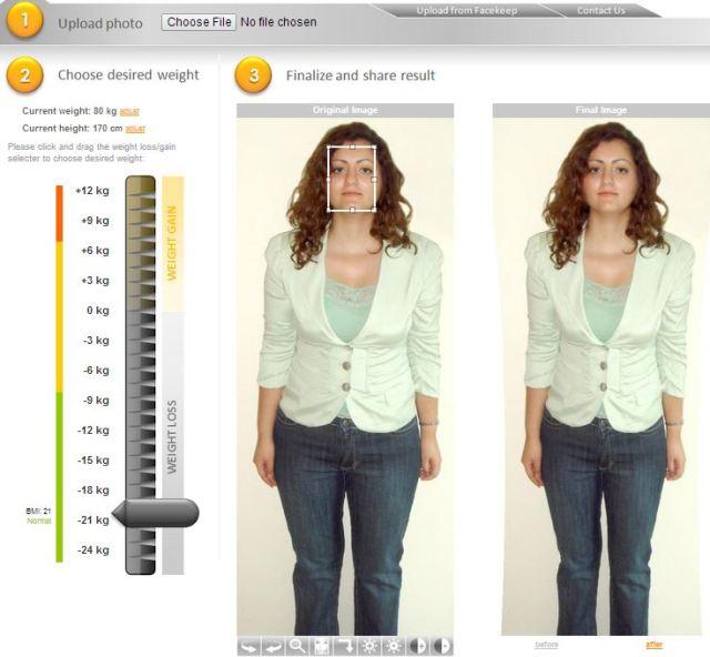 simulateur de forme de corps de perte de poids